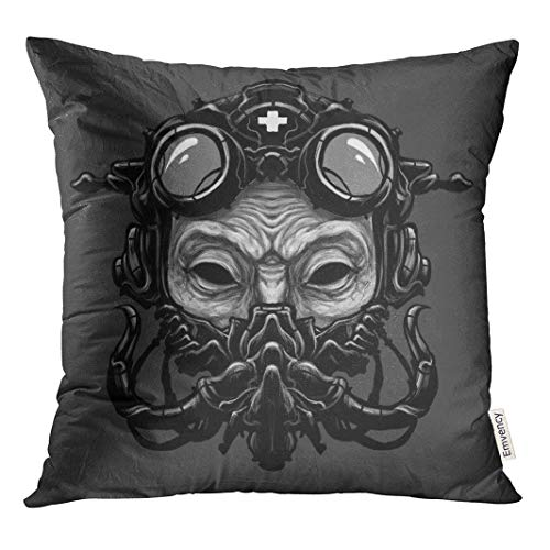 Semtomn Decorative Throw Pillow Case Cushion Cover Adjustable Steampunk Ant Head Digital Adult BDSM Belt Costume 16x16 Inch Cases Square Pillowcases Covers -