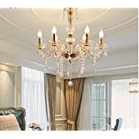 PanelTech 6 Lights Clear Crystal Gold Metal Crystal Chandelier Modern 6 Arms Candle Chandeliers Living Room Lighting…