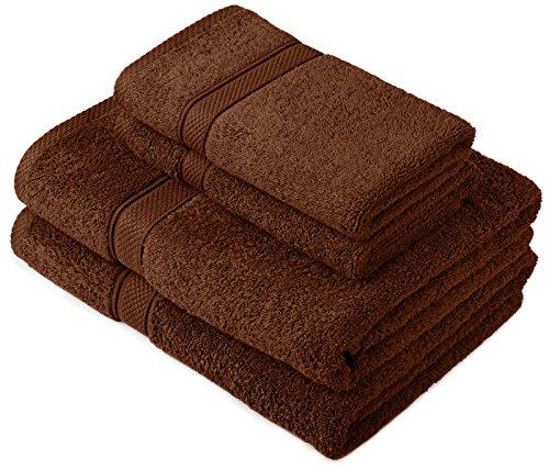 Pinzon by Amazon Lot deserviettes, 2 draps de bain et 2serviettes de bain en coton Marron Cacao