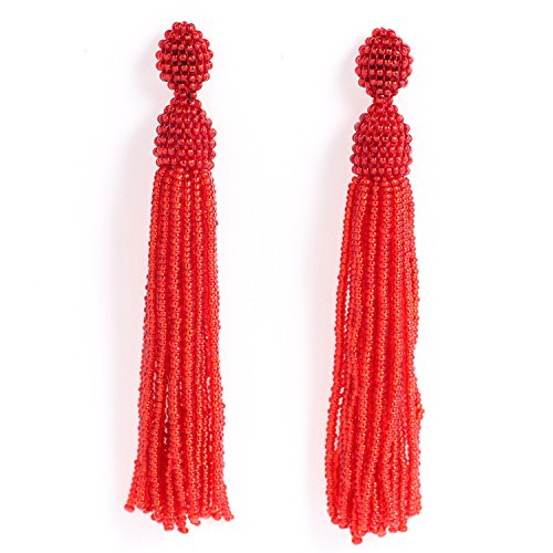 Red Beaded Earring - 7