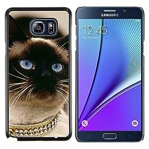 All Phone Most Case / Oferta Especial Duro Teléfono Inteligente PC Cáscara Funda Cubierta de proteccion Caso / Hard Case Samsung Galaxy Note5 5th N9200 // Siamese Cat Gold Blue Eyes Birman