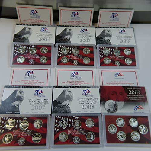2004-2009 S Silver State Quarters Proof Sets S (6 Sets) ()