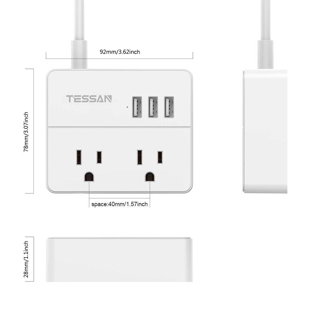 TESSAN Portable 2 Outlet Travel Power Strip with 3 USB Ports Charging Station 5 Ft Cord-White by TESSAN (Image #6)
