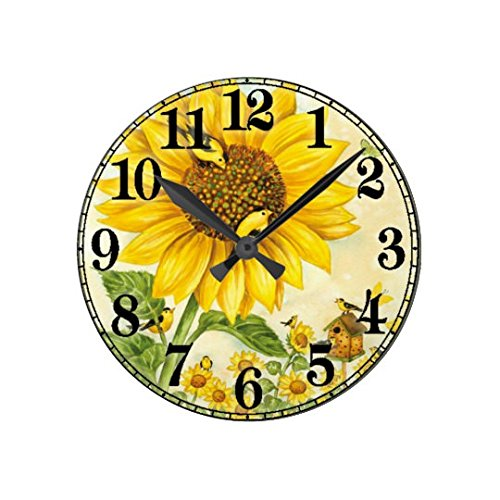 Antique Wood Clock for Bedroom Sunflower Nursery Wood Wall Clock for Bedroom Decor 12 Inch