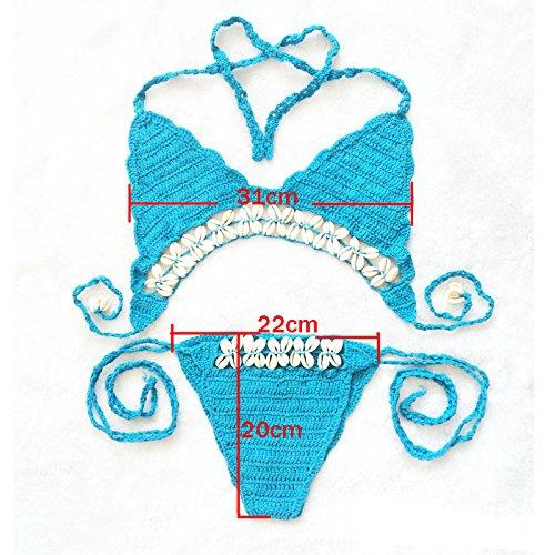 Miya Super sexy Damen gestrickt Bikini mit Quaste Strick Häkeln Muschel, einzigartige Badebekleidung Badeanzug Bademode Damen Bikini Sets Schwimmanzug, in Farbe Weiß BK002