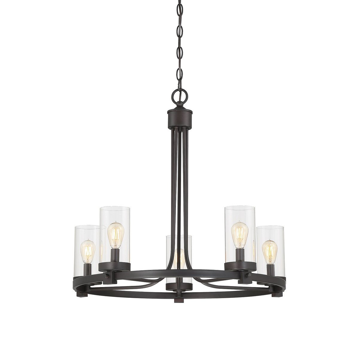 Trade Winds Lighting TW10048ORB 5-Light Transitional Rustic Bronze Hanging Chandelier with Clear Glass Cylindrical Shades, 60 Watts, in Oil Rubbed Bronze