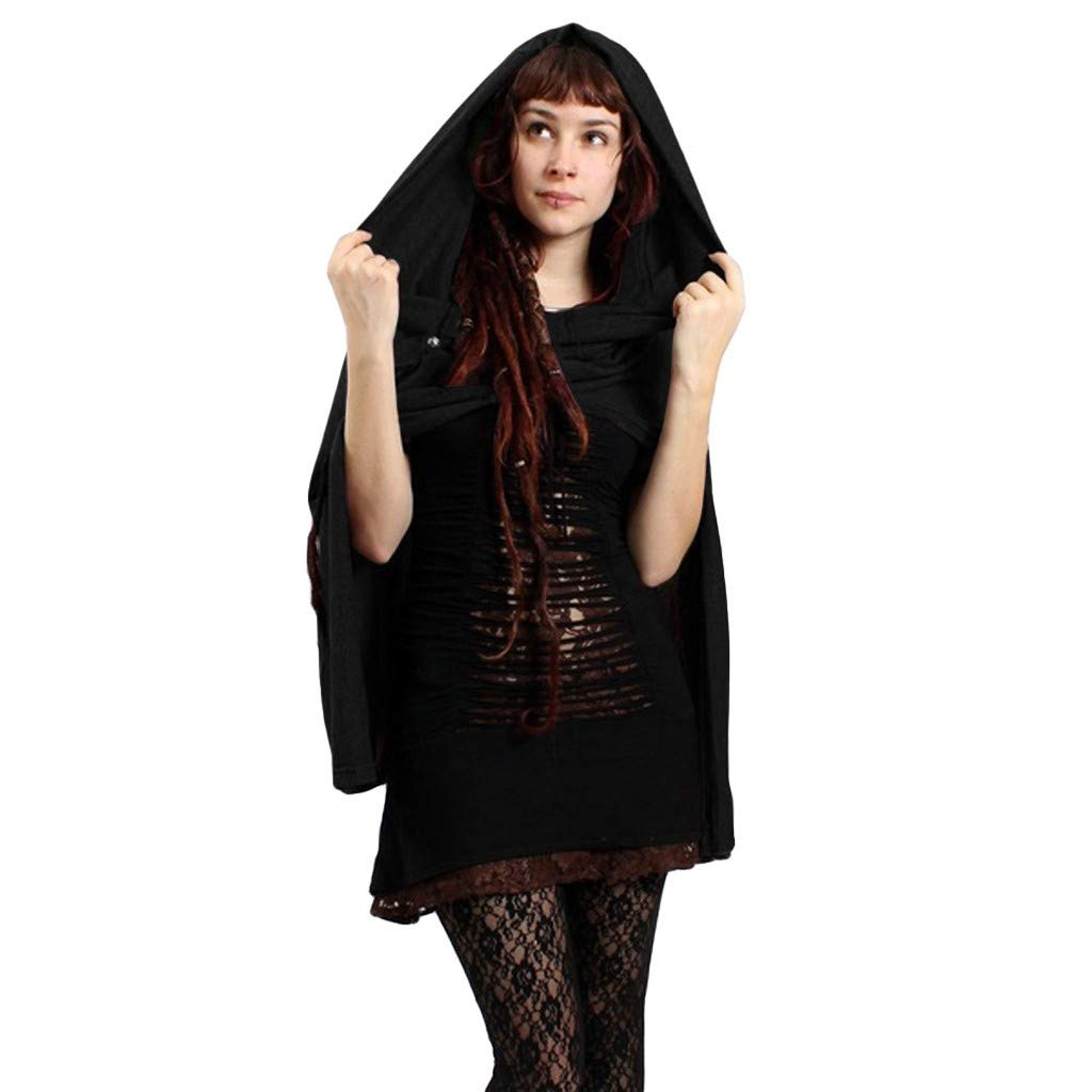 Xinantime Womens Hooded Blouse Cloak Vintage Solid Color Tops Cloak Travel Wrap Shawl Cape Black by Xinantime
