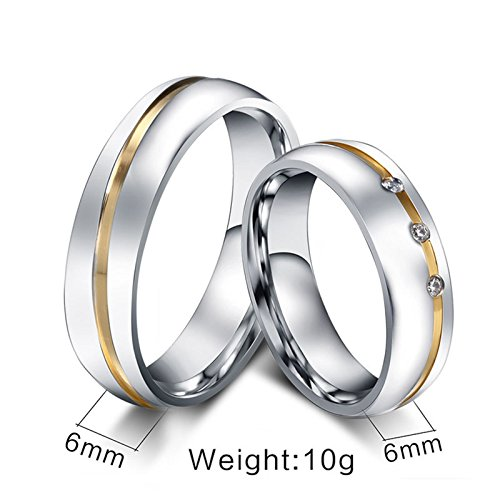Beydodo Titanium Rings Set for Women Stainless Steel Ring Bands Round CZ Women Size 7 & Men Size 12 by Beydodo (Image #1)