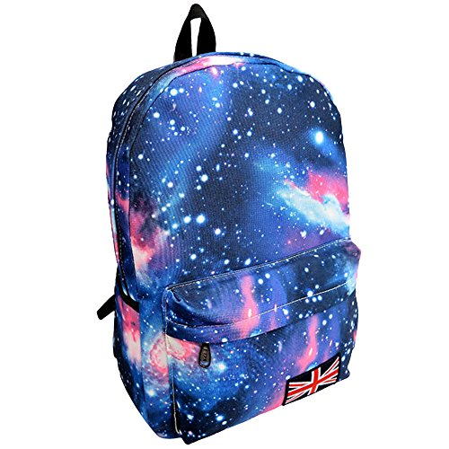 Goddessvan Unisex Galaxy Pattern Travel Backpack Canvas Leisure Bags School Bag Star Backpack Blue