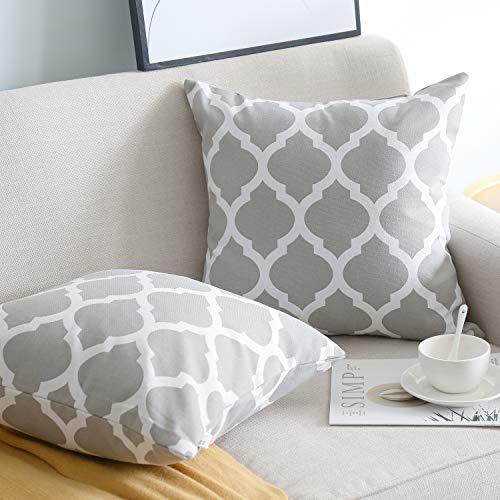 NATUS WEAVER 2 Pc Cotton Canvas Throw Pillow Cover Case for Couch Sofa Home Decor, Modern Quatrefoil Lattice Accent Geometric, 24 X 24 Inches,Grey
