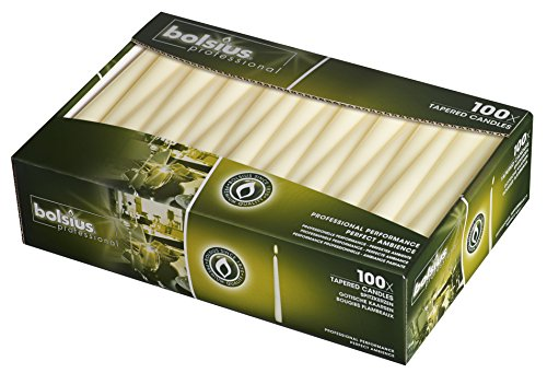 BOLSIUS Bolsius10 inch Ivory Taper Candles Box of 100 Bulk Candles