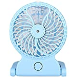 HuntGold Handheld Misting Fan Cooling Fan with Water Spray Foldable USB Rechargeable Table Desk Humidifier Mini Electric Fan Adjustable Strong Wind for Home Office and Travel(Blue)