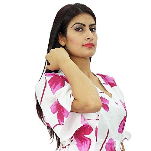 New Indian Kaftan Boho hippy más mujeres del tamaño del desgaste del vestido caftán Beach Cover Up Blanco y morado