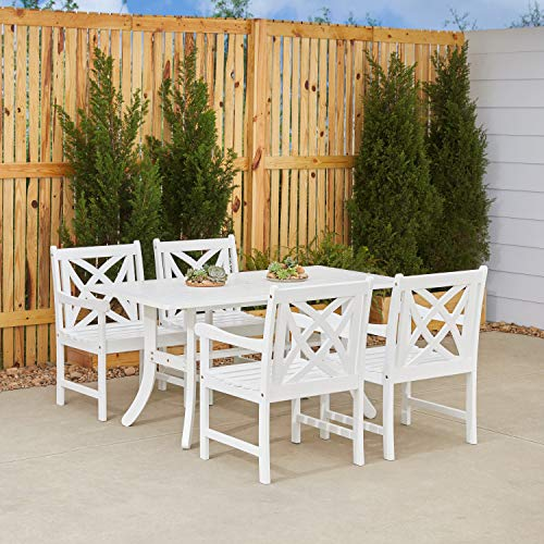 Vifah Bradley 5 Piece White Hardwood Cross Hatch Slat Back Dining Set with Sturdy Rectangle Table and 4 Arm Chairs