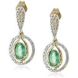 14k Yellow Gold, Emerald, and Diamond Frame Drop Earrings (1/5 cttw, I-J Color, I2-I3 Clarity)