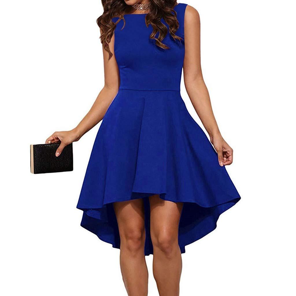 Lamonyer_Dress,Women Fashion Round Neck Unique Ruffle Dress Fold Backless Hepburn Mini Backless Dress Blue