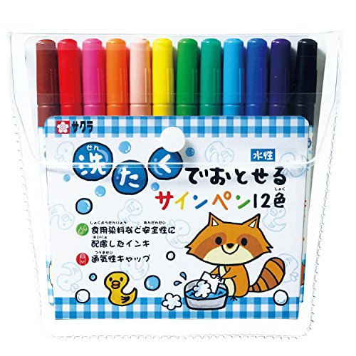 (Sakura 12 color felt-tip pen disappear in the washing)