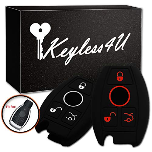 2Pcs Keyless4U 3 Buttons Silicone Cover Key Fob Remote Case Protector Fit For Mercedes-Benz A C E S CLASS SLK CL (Black)