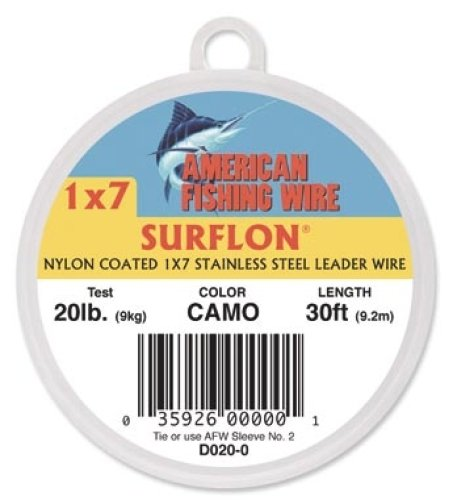 Surflon, Nylon Coated 1x7 Stainless Leader Wire, 90 lb (41 kg) test, .036 in (0.91 mm) dia, Camo, 30 ft
