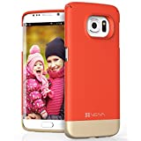 Samsung Galaxy S6 Edge Case, VENA [iSlide] Matte UV Coating Slim Fit Hard Case Cover for Samsung Galaxy S6 Edge (Coral Red / Champagne Gold)