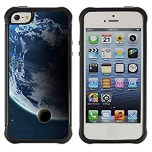 Pulsar iFace Series TPU Silicona Carcasa Funda Case para Apple iPhone SE/iPhone 5 / iPhone 5S, Tierra Luna Vista distante Planeta Azul Espacial