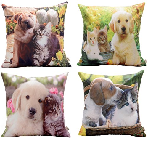 - Dog and Cat Decorative Throw Pillow Square Indoor and Outdoor Super Soft Cushion Cover 18 x 18 Inch (Set of 4)