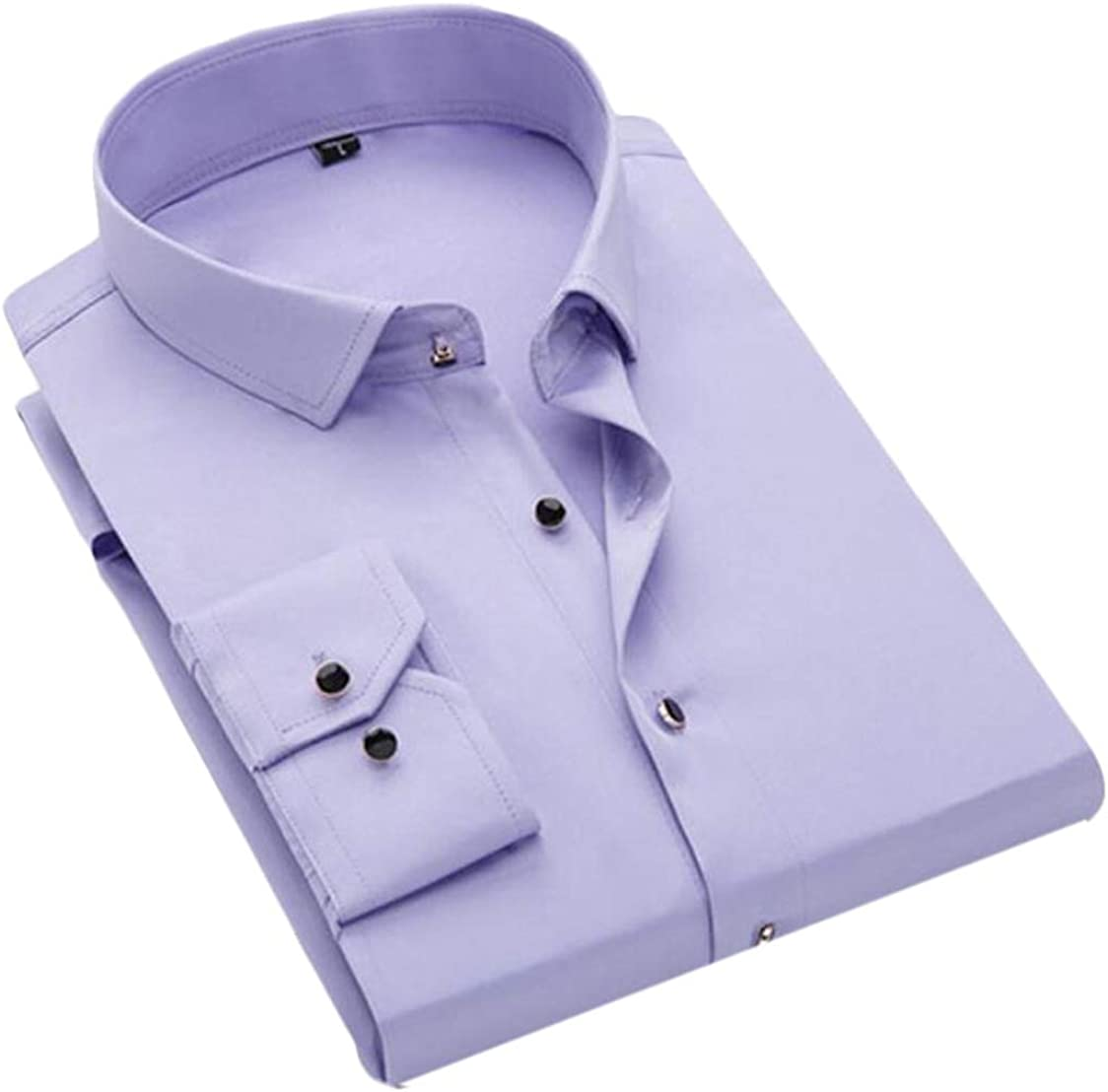 GRMO Men Business Long Sleeve Buttons Basic Solid Dress Shirts