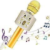 Micrófono Karaoke Bluetooth,Portátil Inalámbrica Micrófono y Altavoz del Karaoke con LED para Niños Canta Partido Musica,El H
