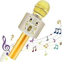 Micrófono Karaoke Bluetooth,Portátil Inalámbrica Micrófono y Altavoz del Karaoke con LED para Niños Canta Partido Musica…