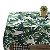 "JZY Waterproof Heavy Cotton Tablecloth for Rectangle Table Wipeable Table Cloth for Kitchen Dining Table (55""x98"", Palm Leaf)"