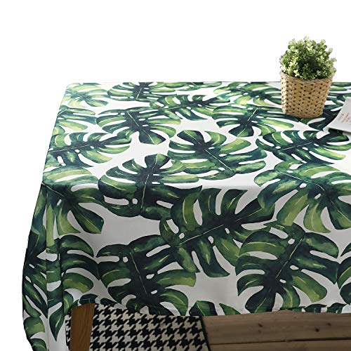 Tablecloth,JZY Waterproof Cotton Table Cover 55 x 55 Inches for Kitchen Dining Table Palm Leaf Table Linen For Square or Round Table
