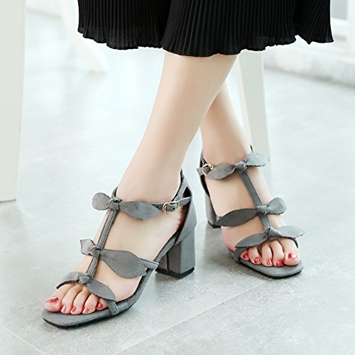 Easemax Womens Sexy Faux Suede Gladiator Bows Knots Ankle Buckle Strap Open Toe Mid Chunky Heel Sandals Gray pjoPKDR0A5