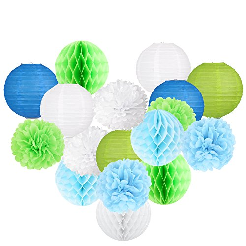 MSKEI 18 Pc Paper Lanterns, Paper Honeycomb Balls and Tissue Paper Pom Poms Set, Celebration Birthday or Wedding Party Decorations(8 Inch Blue, Green and White)]()