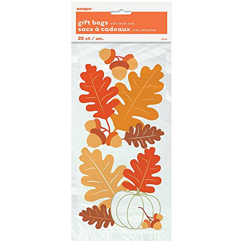 Painted Leaves Fall Cellophane Bags, 20ct -