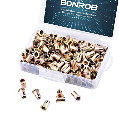 150 Pcs Zinc Plated Carbon Steel Rivet Nut Flat Head Insert Nutsert 1/4-20UNC Packaged by Plastic Case (Gold) ()