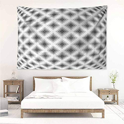 (Sunnyhome Wall Tapestry,Grey Squares Optic Illusion Effect,Beach Tapestry,W60x51L)