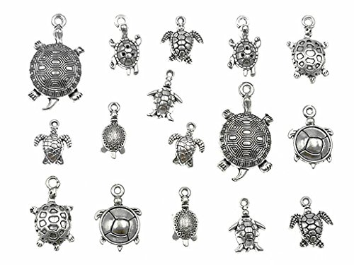 Turtle Pendant - Kinteshun Assorted Tortoise Sea Turtle Charm Pendant Connector for DIY Jewelry Making Accessaries(16pcs,Antique Silver Tone)