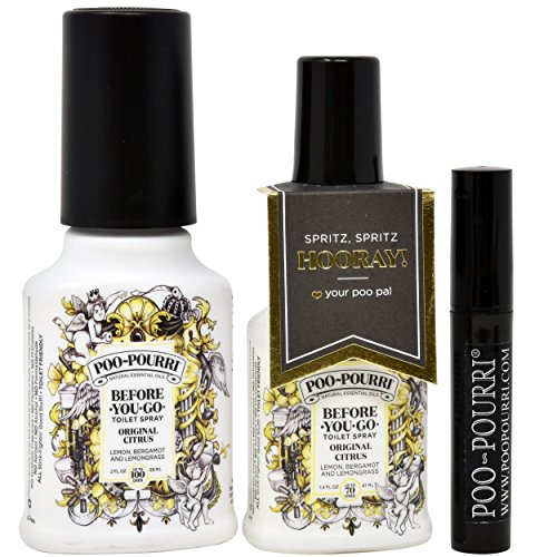 Poo-Pourri Original Toilet Spray Set, Included 1.4-Ounce, Bottle, Original Scent, 2-Ounce, Bottle, Original Scent, and Travel Size Disposable Spritzer, And Your Poo Pal Spritz Hooray Bottle Gift Tag by Poo-Pourri