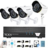 Cheap Tecbox Home Security Camera System 720p 4CH Security DVR and 4 1.5mp Surveillance Cameras Weatherproof Video Camera System Remote View Security CCTV System