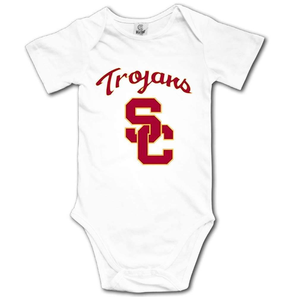 Cute Funny USC Trojans Baby Bodysuits Short Sleeve Jumpsuit Romper Onesies Outfits for Toddler Boys Girls (White, 6 Months)
