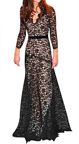 Miusol Womens Floral Lace 2/3 Sleeves Long Bridesmaid Maxi Dress