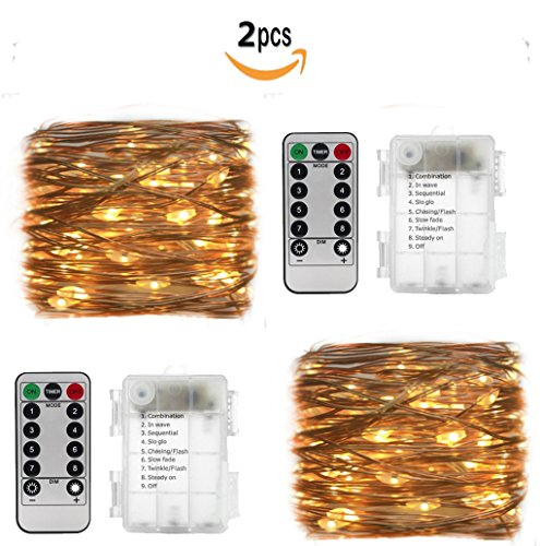 2 Set 33ft 100 Led Fairy Lights, Battery Operated Waterproof Copper Wire Lights with Remote,8 Mode Decorative Light for Home Bedroom Christmas Centerpiece Party Wedding Birthday(Warm White) (Porch Lighting Ideas Creative)