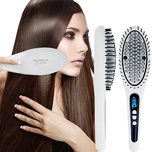 Hair Straightener Brush with innovative metal ceramic heater and twin-anion generator for super silky and sleek hair also effective for frizz hair (Matt White) by PRINKISS