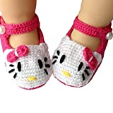 Fashion Story Newborn Soft Warm Knit Flowers ShoesFoot Band Ties Barefoot Sandals Baby Infant (Kitty10cm)