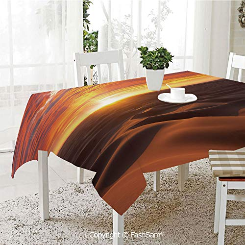AmaUncle Premium Waterproof Table Cover Dramatic Sunset Scenery at Sahara Dunes Arid Landscape Morrocco Summer Nature Resistant Table Toppers (W60 xL84)]()