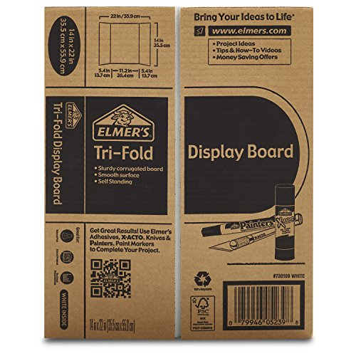 Elmer's Tri-Fold Display Board, 14 X 22-Inch, White