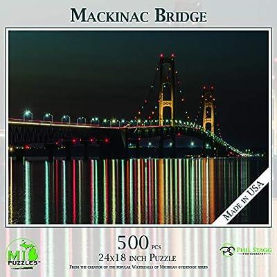 Mackinac Bridge - Night Reflections - 500 Piece MI Puzzles Jigsaw Puzzle: Toys & Games