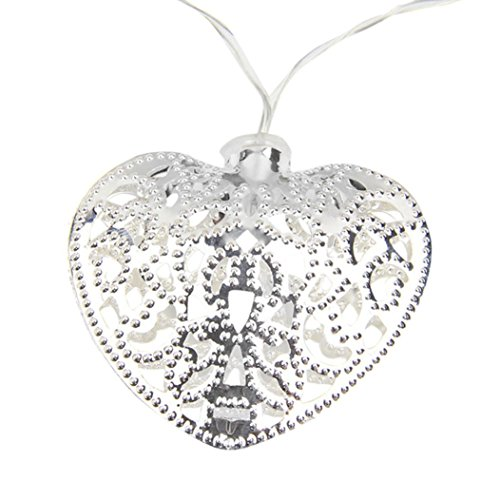 Digood 10LED Fairy String Light Metal Heart Shaped Curtain Lamp for Party, Wedding, Garden, Patio Chrismas Tree Bedroom Indoor Outdoor Decoration (250w Electronic Transformer)