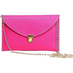 Fashion Women Handbag Shoulder Bags Envelope Clutch Crossbody Satchel Purse Leather Lady Bag (Pink)