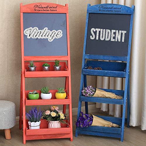 LIANGJUN Message Board Chalkboards Retro Wooden Multi-Layer Flower Stand Coffee Shop Shop Billboard Display Stand, 6 Colors (Color : Blue, Size : 42x43x119cm) by LIANGJUN-lyj (Image #1)